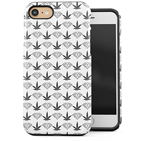 Coque pour Apple iPhone 7 / iPhone 8 2 Pièces Enveloppe EE Protection Double Couche PC + TPU Case Cover Gray Diamonds Vs Weed Cannabis Stoner 420 Blunts Coque Housse