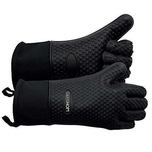 GEEKHOM Grillen Handschuhe, hitzebeständige Handschuhe Grill Küche Silikon Ofenhandschuhe, lange Wasserdicht Rutschfeste Topflappen zum Grillen, Kochen, Backen - Silikon-grillen-handschuhe