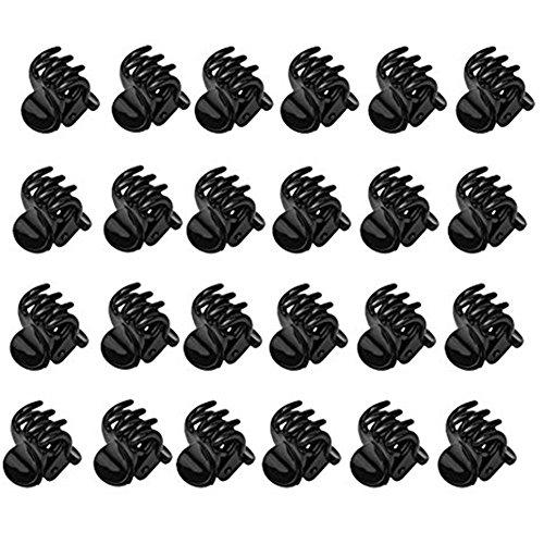 DWE Lot de 24 mini pinces à cheveux crabe à 6 griffes en plastique Noir