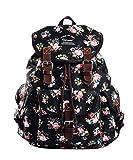 Douguyan Vintage Casual Canvas Travel Bag Backpack Junge Damen Klein Freizeit Rucksäcke Mädchen für Schule Reisen Tasche Women für Laptop bis 14 Zoll Schwarz 297A