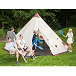 Skandika Teepee 301 Wigwam Style Indiana Tepee Tent, Sewn-In Groundsheet, 300 cm Peak Height, 3000 mm Water Column, Sand/Burgundy, 12-Person 12