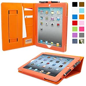 Snugg iPad 2 Card Slot 'Executive' Leather Case in Orange - Flip Stand Cover with Card Slots, Pocket, Elastic Hand Strap and Premium Nubuck Fibre Interior - Automatically Wakes and Puts the Apple iPad 2 to Sleep