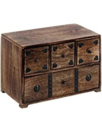 "Benzara 14427 Metal Rayas boxdecorated baúl de madera, marrón, 8 ""H x 11"" W x 6 D"