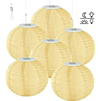 Lunartec Solarlampion rund: Solar-LED-Lampion, LEDs, Dämmerungs-Sensor, IP44, warmweiß, 6er-Set (Garten-Lampion)