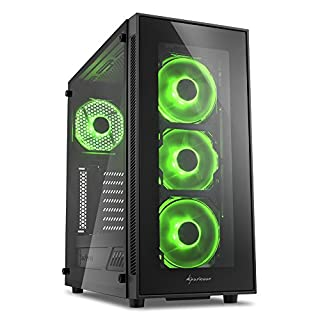 Sharkoon TG5 PC-Gehäuse (mit Seitenfenster und Frontblende aus gehärtetem Glas, 2x USB 3.0, 2x USB 2.0, 4x 120 mm LED-Lüfter) grün