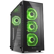 Sharkoon TG5 Midi-Tower Black computer case - Computer Cases (Midi-Tower, PC, Tempered glass, ATX,Micro-ATX,Mini-ITX, Black, Green)