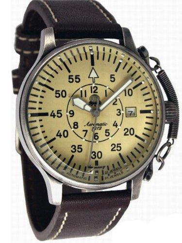 Aeromatic 1912 A1383 - Reloj para hombres, correa de cuero color marrón