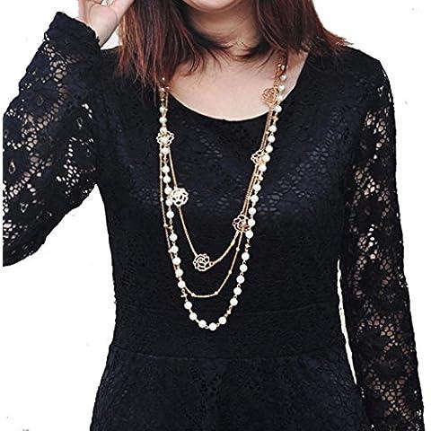 ammazona nuevo Pearl Rose Hoja para Mujer Vintage de la moda de largo collar de cadena de flores