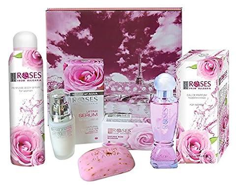 Coffret Soins et Beauté NATURE OF AGIVA « Roses from Bulgaria » Eau de Parfum, Parfum-Déo, Lifting Sérum Visage, Savon et Lingettes nettoyantes