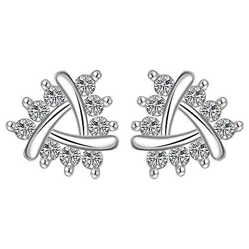 ert rhodiniertem Silber Ohrringe Zirkonia Intarsien romantische Persönlichkeit Pflanze blüht Ohrring für Frauen ()