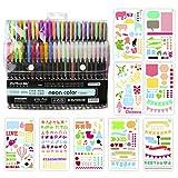Brush Pen Set Pinselstifte, BBLIKE 1,0mm 48PCS Aquarell Farben für Bullet Journal, 9PCS Schablone, 4 Wassertankpinsel D