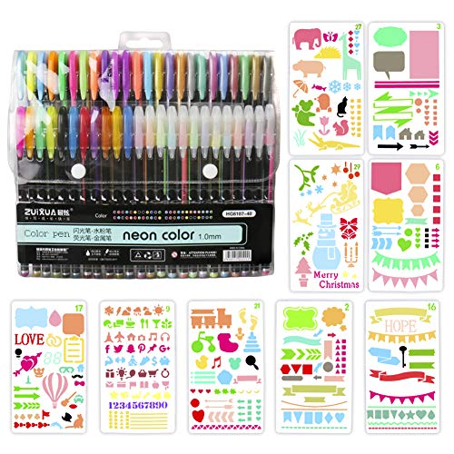 Brush Pen Set Pinselstifte, BBLIKE 1,0mm 48PCS Aquarell Farben für Bullet Journal, 9PCS Schablone,...