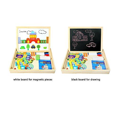 Innoo Tech 70 Piezas Puzzle de Madera Pizarra Magnética Blanca y Negro Multifuncional Juguete Educativo Rompecabezas de Tablero Dibujo Magnético para Los Niños Más de 3 Años Mejor Regalo de Cumpleaños y Fiesta(Versión Nueva)
