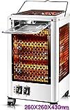 NFJ Stufetta Elettrica, Riscaldatore Elettrico Piccoli Elettrodomestici Solare Riscaldamento Forno Grill for 5 Lati Desktop di Tipo Elettrico Fan,White-Large