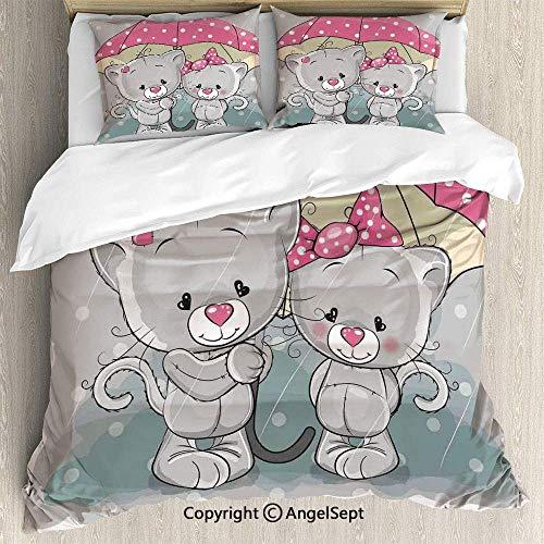 Juego 3 piezas ropa cama Juego funda nórdica, gatitos