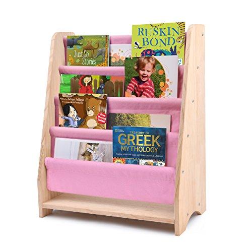 Bücherregal für Kinder, Safe&Care Canvas Zeitungständer Regal aus natürliches Finish Holz Bücherregal mit 4 Leinwand Ablagefächern (Rosa&Natural) Baby Bücherregal