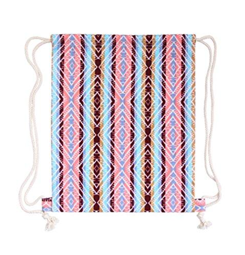 Hosaire 1x Hand Tasche Rucksäcke Multifunktion Canvas Rucksack Schön Muster Design Backpack Daypacks Handtasche mit Seil,35 x 40 cm Farbe#2