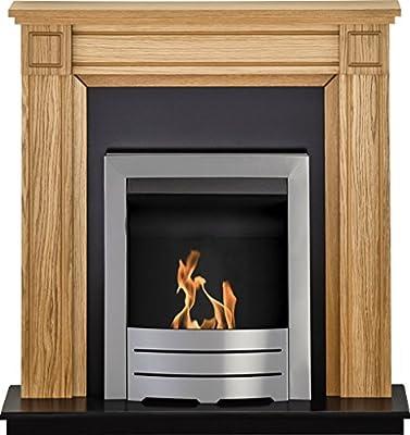 Adam Georgian Fireplace Suite in Oak with Colorado Bio Ethanol Fire in Brushed Steel, 39 Inch