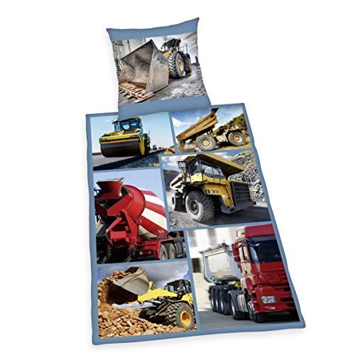 Herding Young Collection Bettwäsche-Set, Bagger Wendemotiv, Bettbezug 135 x 200 cm, Kopfkissenbezug 80 x 80 cm, Baumwolle/Renforcé