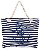 CAPRIUM Strandtasche in Streifen Optik mit Anker, Schultertasche, Shopper, Damen 0009004 (XXL Blau)