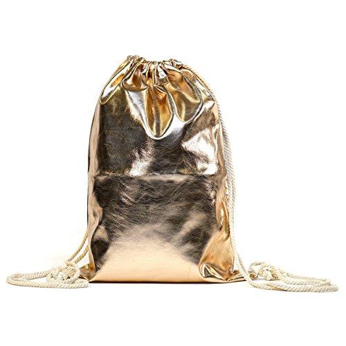 MEGASTYL Tasche Sportbeutel Turnbeutel Rucksack Metallic-Farben Hipster Rosé Gold Silber Bronze Schwarz Pink Rot, Farbe (Metallic Look):Rosé, Größe:Onesize (Hipster Gold)