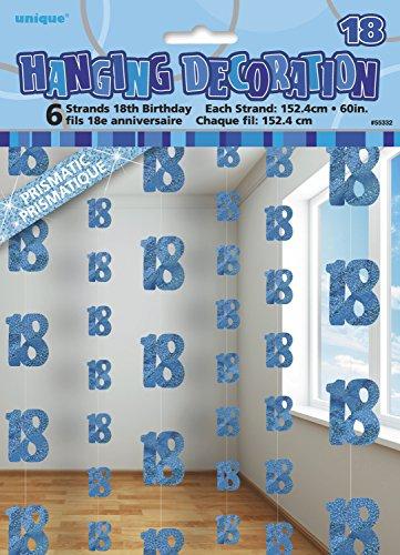 Unique Party - 55332 - Paquet de 6 Décorations de 18e Anniversaire Suspendues - 1,5 m - Bleu Glitz