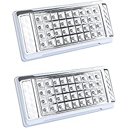 DISCOBALL - Car Interior Roof Lights - 2 PCS/Pack Auto Vehicle DC 12V 36 LEDs Rectangle Dome Ceiling Front Reading Head Indoor Lighting (White)