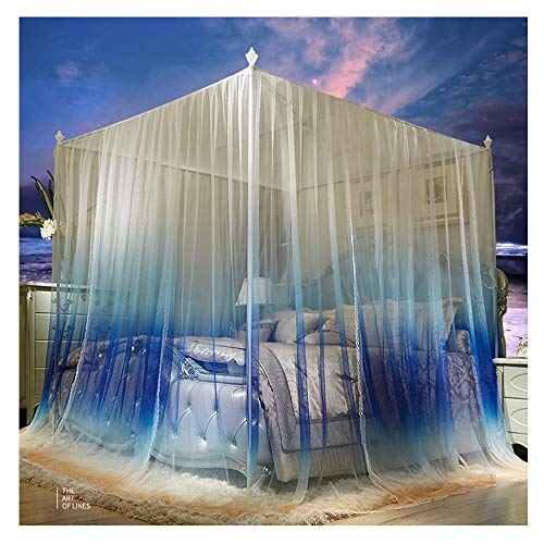 DUXY Moskitonetz Bett, Luxus 4 Post Bett Vorhang Baldachin Moskitonetz Queen-Size, Prinzessin Baldachinen (einschließlich Halterung),CaliforniaKing200x220cm - Queen-size-baldachin-bett