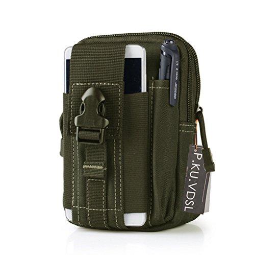 Tactical Tasche, P.KU.VDSL Waist Tasche, Sport Hüfttasche Gürteltasche Bauchtasche Taktische Waist Bag Hip Bag Handytasche Sport Gürtel Tasche für Camping Wandern Outdoor A - Armygreen