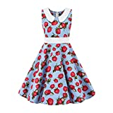 LEXUPE Kinder Teen Kinder Mädchen 1950er Jahre Retro ärmellose Erdbeer Print Prinzessin Kleid(Hellblau,XS)