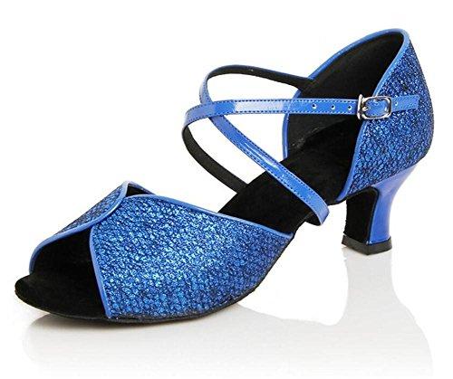 Scarpe da donna Danza al coperto Suola in morbida pelle Criss Attraversare Latino moderno Taglia 36To40 Blue