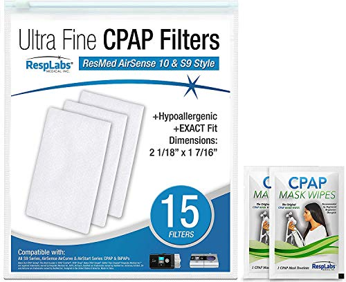 RespLabs CPAP Filters Compatible with ResMed AirSense, AirCurve - S9, AirStart, Autoset 10 | Disposable, Universal Replacement Filter Kit [15 Pack] -