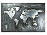 mosa designs Wandbild Weltkarte Relief Metallbild 3D Massiv Metall Handarbeit World 120x80cm