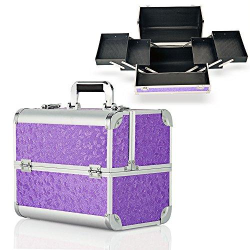 Boîte de beauté hotrose extra large pour maquillage, bijoux à ongles Butterfly Pattern, Purple L
