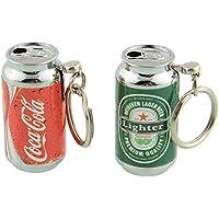 Encendedor con forma de lata de cerveza o cocacola, con llavero, recargable