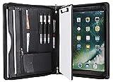 Konferenzmappe aus echtem Leder, mit Reißverschluss, für iPad Pro 12,9 cm (12,9 Zoll), A4, mit Clipbrett, Business-Organizer,