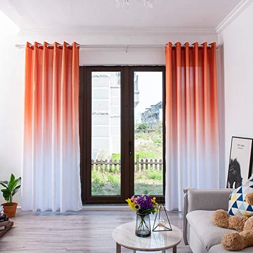 FeiliandaJJ 270x100cm Vorhänge Wohnzimmer Gardinen Farbverlauf Sommer Cool Atmungsaktiv Waschbar Gardinenschals Kinderzimmer Schlafzimmer Modern Haus Dekoration,1 Stück (Orange)
