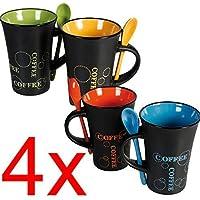 BARGAINS-GALORE 4x Taza de café con Cuchara Juego de Té Tazas de café Bebida de Cerámica Cocina Espresso Nuevo