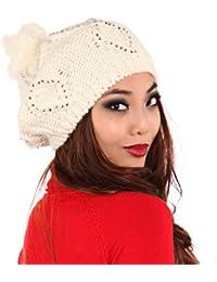 Young Fashion Oversize Strick- Ballon-Mütze Strass Mütze mit PomPom