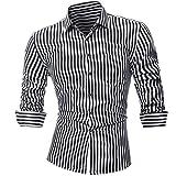 Goosuny Herren Gestreift Hemd Persönlichkeit Gedruckt Schlank Männerhemden  Bluse Businesshemd Mode Langarm mit Buttondown Kragen Slim Fit Business ... 1318a2ac6b