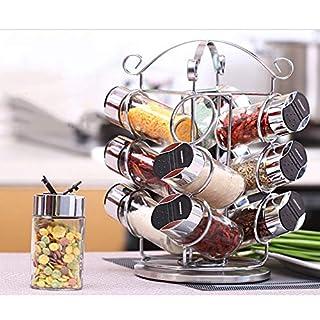 GKPLY Rotating seasoning jar seasoning box stainless steel salt shaker kitchen paste rotating seasoning box seasoning jar