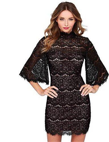 PU&PU Robe Aux femmes Lace Street Chic,Imprimé Col Arrondi Au dessus du genou Polyester BLACK-XL