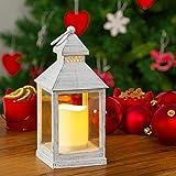 Farorillo a pilas, h 24 cm, LED luz cálida, efecto llama, farolillo decorativo, farolillo LED, luces de Navidad