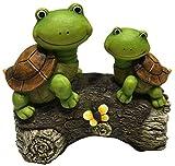 LA JOLIE MUSE Garten Deko Gartenfigur Schildkröten auf Baumstamm für draußen, Terrasse, Garten oder Eingangsbereich, 9 Zoll, Geschenk zur Einweihungsfeier