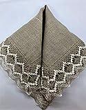 Tovaglia di lino vintage grigia, tovaglietta, centrino con pizzo personalizzato 53 x 53 cm, arredamento rustico da tavola