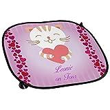 Auto-Sonnenschutz mit Namen Leonie und süßem Katzen-Motiv für Mädchen - Auto-Blendschutz - Sonnenblende - Sichtschutz