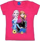 Frozen - Die Eiskönigin T-Shirt Mädchen Anna und ELSA Disney (Fuchsia, 122-128)