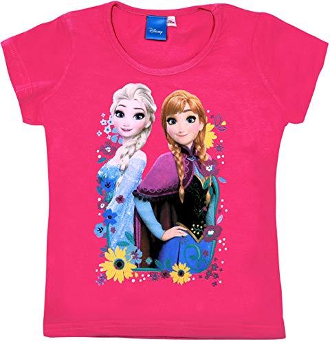 Frozen - Die Eiskönigin T-Shirt Mädchen Anna und ELSA Disney (Fuchsia, 98)