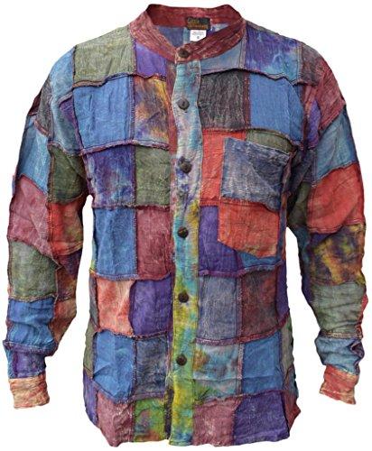 LITTLE KATHMANDU Herren Baumwolle Stonewashed Tie Dye Patchwork Hemd Medium -