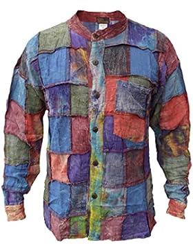Little Kathmandu, camicia da uomo, tinta unita, con toppa in cotone e lavaggio a pietra